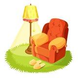 Άνετη πολυθρόνα με τα μαξιλάρια, κίτρινη, στρογγυλή υφαντική κουβέρτα χλόης απεικόνιση αποθεμάτων