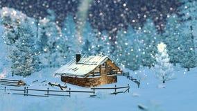 Άνετος λίγη καλύβα στα βουνά στη νύχτα χιονοπτώσεων ελεύθερη απεικόνιση δικαιώματος