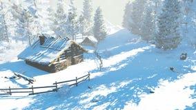 Άνετος λίγη καλύβα στα χιονώδη βουνά στην ηλιόλουστη ημέρα ελεύθερη απεικόνιση δικαιώματος