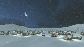 Άνετος αποκλεισμένος από τα χιόνια δήμος στη νύχτα χιονοπτώσεων διανυσματική απεικόνιση