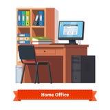 Άνετος εγχώριος εργασιακός χώρος με τον υπολογιστή γραφείου απεικόνιση αποθεμάτων