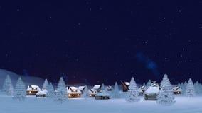 Άνετος χειμερινός δήμος στη νύχτα χιονοπτώσεων 4K απεικόνιση αποθεμάτων