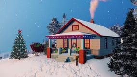 Άνετο αγροτικό σπίτι που διακοσμείται για τα Χριστούγεννα 4K ελεύθερη απεικόνιση δικαιώματος