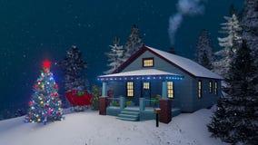 Άνετο αγροτικό σπίτι που διακοσμείται για τη νύχτα Χριστουγέννων 4K απεικόνιση αποθεμάτων