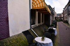 Άνετο εστιατόριο στο κίτρινο λευκό του Άμστερνταμ Awning τα κόκκινα πορφυρά Mossy τούβλα τοίχων στοκ εικόνα
