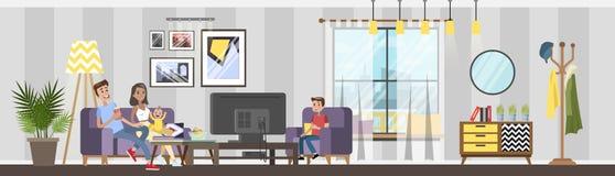 Άνετο εσωτερικό καθιστικών στο σπίτι απεικόνιση αποθεμάτων