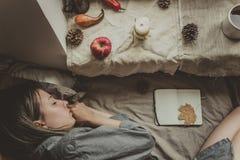 άνετο σπίτι ροδανιλίνη φθινοπώρου asters πολύ ροζ διάθεσης Ύπνος γυναικών στο κρεβάτι από το παράθυρο Στοκ εικόνες με δικαίωμα ελεύθερης χρήσης