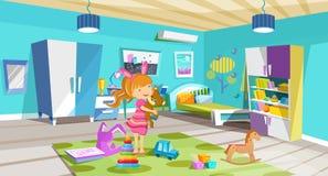 Άνετο, φωτεινό δωμάτιο, κρεβατοκάμαρα των παιδιών με τα έπιπλα, παιχνίδια, εξαρτήματα διανυσματική απεικόνιση