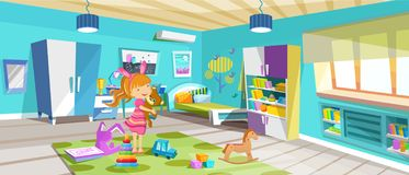 Άνετο, φωτεινό δωμάτιο, κρεβατοκάμαρα των παιδιών με τα έπιπλα, παιχνίδια, εξαρτήματα απεικόνιση αποθεμάτων