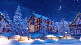 Άνετο χιονισμένο ορεινό χωριό στη χειμερινή νύχτα απεικόνιση αποθεμάτων