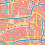 Άνευ ραφής άγνωστη πόλη χαρτών. Στοκ Εικόνες