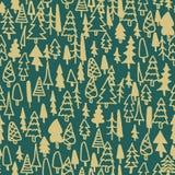 Άνευ ραφής δάσος πεύκων σχεδίων συρμένο χέρι Στοκ Εικόνες
