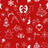 Άνευ ραφής άσπρα αντικείμενα σχεδίων Χριστουγέννων στο κόκκινο υπόβαθρο διανυσματική απεικόνιση
