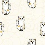 Άνευ ραφής άσπρες γάτες σχεδίων Στοκ φωτογραφία με δικαίωμα ελεύθερης χρήσης