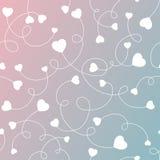 Άνευ ραφής άσπρες καρδιές σχεδίων σε μια ρόδινη και μπλε κλίση Στοκ Φωτογραφία