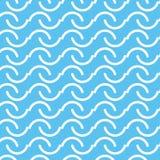 Άνευ ραφής άσπρο αφηρημένο σχέδιο καμπυλών γραμμών με το μπλε υπόβαθρο Στοκ Εικόνα