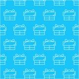 Άνευ ραφής άσπρο αφηρημένο σχέδιο κιβωτίων δώρων με το μπλε υπόβαθρο, διάνυσμα, διάστημα αντιγράφων για το κείμενο, θέμα κρητιδογ Στοκ Φωτογραφίες