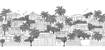 Άνευ ραφής έμβλημα ενός καραϊβικού χωριού διανυσματική απεικόνιση