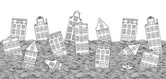 Άνευ ραφής έμβλημα με το πνίξιμο των σπιτιών Στοκ Εικόνα
