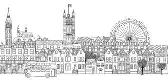 Άνευ ραφής έμβλημα του ορίζοντα του Λονδίνου Στοκ Εικόνες