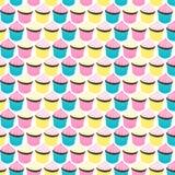 Άνευ ραφής αναδρομικό σχέδιο ύφους Cupcakes Στοκ Εικόνες
