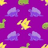 Άνευ ραφής ανασκόπηση Αστείοι δεινόσαυροι Στοκ Εικόνες