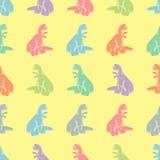 Άνευ ραφής ανασκόπηση Αστείος που χρωματίζεται tyrannosaurs Στοκ Εικόνα