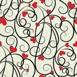 Άνευ ραφής ανασκόπηση καρδιών κυμάτων floral Στοκ Εικόνες