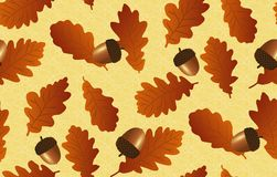 Άνευ ραφής ανασκόπηση με τα δρύινα φύλλα και τα βελανίδια Στοκ Φωτογραφία