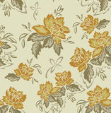 Άνευ ραφής ανασκόπηση με τα κίτρινα λουλούδια στοκ φωτογραφία