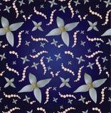 Άνευ ραφής ανασκόπηση με τα μαργαριτάρια και τα λουλούδια Στοκ εικόνα με δικαίωμα ελεύθερης χρήσης
