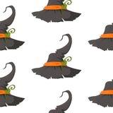 Άνευ ραφής ανασκόπηση προτύπων αποκριών Αφηρημένο καπέλο σκίτσων αποκριών σε ένα άσπρο υπόβαθρο διανυσματική απεικόνιση