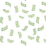 Άνευ ραφής ανασκόπηση Τα δολάρια πέφτουν από τον ουρανό τύχη ξαφνικός πλούτος ελεύθερη απεικόνιση δικαιώματος