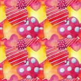 Άνευ ραφής ανασκόπηση Watercolor καρδιών ευτυχής s βαλεντίνος ημέρ&alp στοκ φωτογραφία