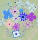 Άνευ ραφής αναδρομικό διάνυσμα υποβάθρου λουλουδιών διανυσματική απεικόνιση