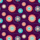 Άνευ ραφής αναδρομικό σχέδιο των διαφορετικών χρωματισμένων θερινών λουλουδιών Στοκ φωτογραφία με δικαίωμα ελεύθερης χρήσης