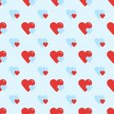 Άνευ ραφής αναδρομικό σχέδιο δύο καρδιές Στοκ Εικόνες