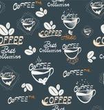 Άνευ ραφής απεικόνιση καφέ Drawning χεριών Στοκ Εικόνες
