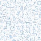 Άνευ ραφής απεικόνιση με συρμένα τα χέρι εικονίδια στο θέμα του νόμου και τα εγκλήματα, μπλε εικονίδια περιγράμματος στο καθαρό φ Στοκ εικόνα με δικαίωμα ελεύθερης χρήσης