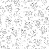 Άνευ ραφής απεικόνιση με τα σκυλιά κινούμενων σχεδίων εικόνων περιγράμματος, σκοτεινή περίληψη σε ένα άσπρο υπόβαθρο Στοκ Εικόνα
