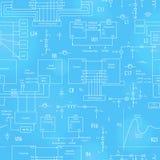 Άνευ ραφής απεικόνιση με τα στοιχεία των ηλεκτρονικών κυκλωμάτων, στο ύφος της τεχνικής τεκμηρίωσης, η φωτεινή περίληψη σε ένα bl Στοκ Φωτογραφίες