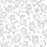 Άνευ ραφής απεικόνιση με τις γάτες κινούμενων σχεδίων εικόνων περιγράμματος Στοκ Φωτογραφίες