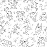 Άνευ ραφής απεικόνιση με τις εικόνες περιγράμματος των κουνελιών κινούμενων σχεδίων Στοκ Εικόνες