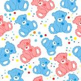 Άνευ ραφής απεικόνιση που χαρακτηρίζει τις teddy αρκούδες Στοκ Εικόνες