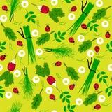 Άνευ ραφής απεικόνιση ραδικιών κήπων λαχανικών Στοκ Εικόνες