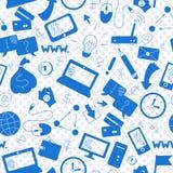 Άνευ ραφής απεικόνιση σε μια επιχείρηση θέματος στην τεχνολογία Διαδικτύου και πληροφοριών, μπλε σκιαγραφίες των εικονιδίων στο b Στοκ Φωτογραφίες