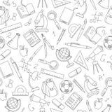 Άνευ ραφής απεικόνιση στο θέμα της αρχής του σχολικού έτους στο γυμνάσιο Στοκ εικόνες με δικαίωμα ελεύθερης χρήσης