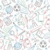 Άνευ ραφής απεικόνιση στο θέμα της αρχής του σχολικού έτους στο γυμνάσιο Στοκ Εικόνες