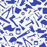 Άνευ ραφής απεικόνιση στο θέμα της κατασκευής και της επισκευής, εξοπλισμός κατασκευής, μπλε σκιαγραφίες των εικονιδίων στο backg διανυσματική απεικόνιση