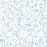 Άνευ ραφής απεικόνιση στο θέμα της ραπτικής και του ραψίματος, μπλε εικονίδια περιγράμματος στο καθαρό φύλλο γράφω-βιβλίων σε ένα Στοκ Εικόνες